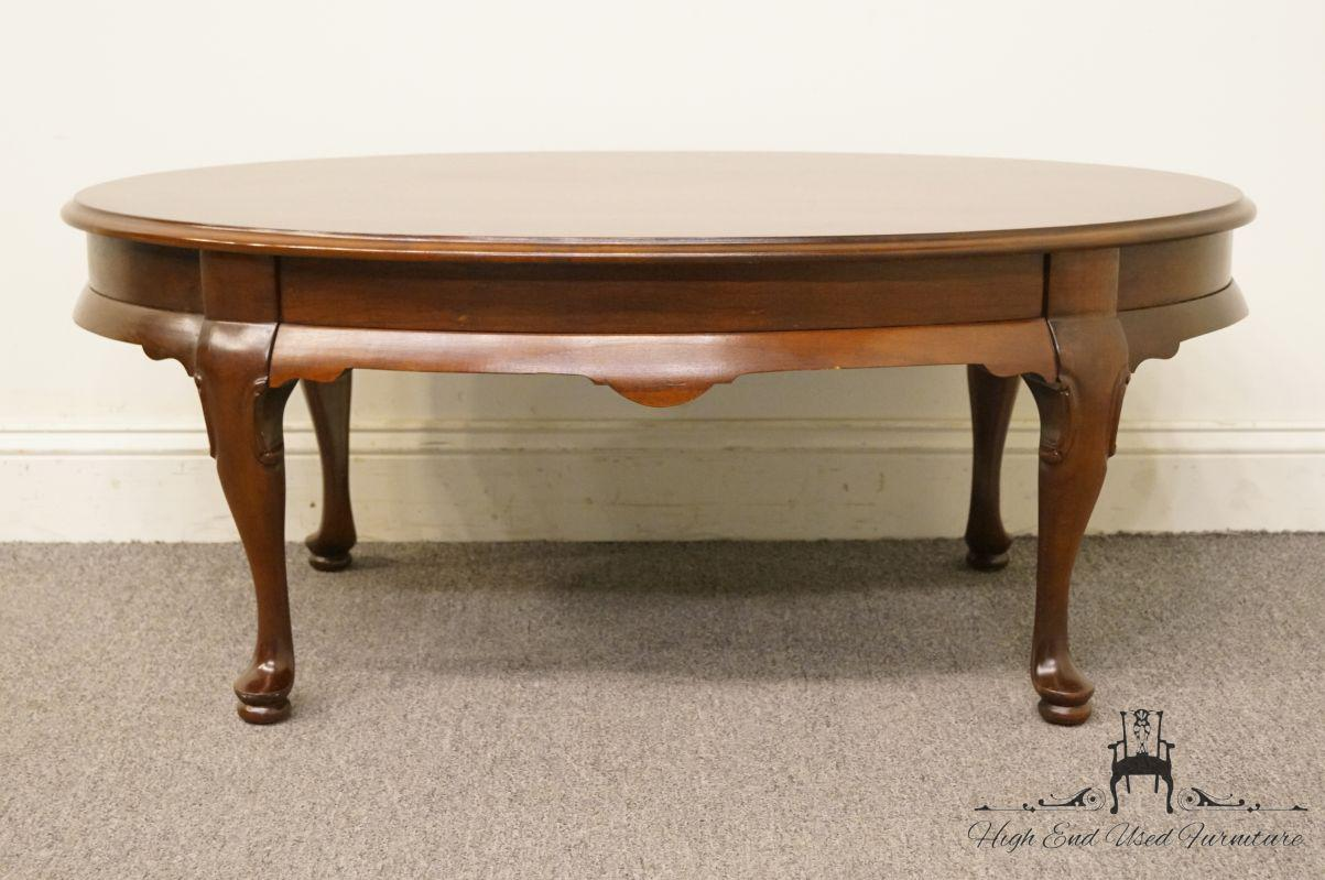Genial Cherry Wood Late 20th Century Vintage Hammary Furniture Solid Cherry Queen  Anne Coffee Table For Sale