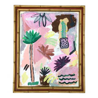 Original Pinks and Greens Abstract, Framed For Sale