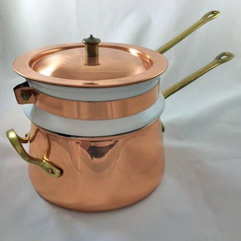 This vintage Copper, Brass and Porcelain Double Boiler made by Taurus in Portugal is in amazing, gorgeous condition. Each...