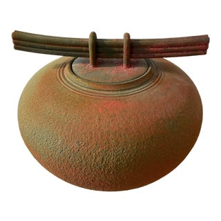 Asian Inspired Raku Ceramic Jar For Sale