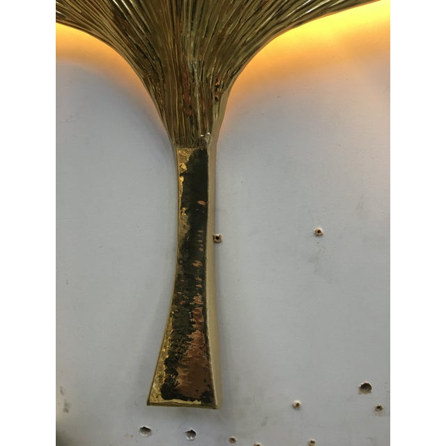 Fan Leaf Motif Gold Metal Wall Sconces - a Pair For Sale - Image 9 of 12