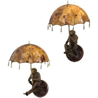 Maitland Smith Verdigris Patina Brass Monkey Wall Lamps - a Pair