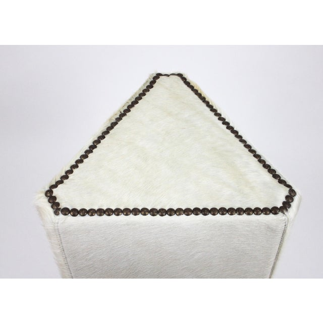 Contemporary Lee Industries McAlpine Home White Hair on Hide Triangle Ottoman For Sale - Image 3 of 6