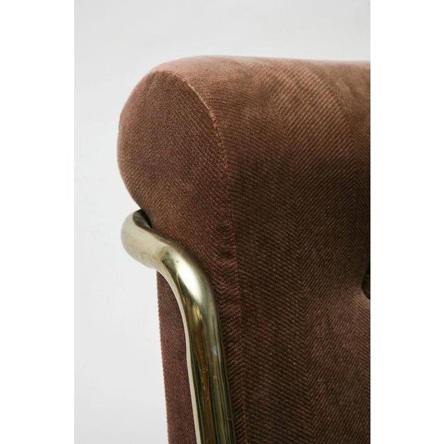 fine set of four brass upholstered dining chairs by daystrom usa