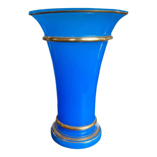 French Blue Opaline Vase For Sale