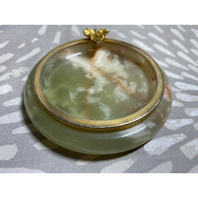 1950s Vintage Green Onyx Catchall For Sale - Image 4 of 10