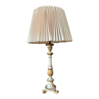 Mid 20th Century Vintage Italian Gilt Florentine Table Lamp with Shade For Sale
