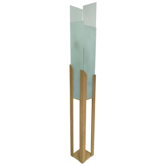 Skyscraper Floor Lamp by Maison Lucien Gau, France, 1980s For Sale
