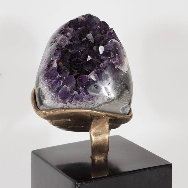 Amethyst Geode with a Sculptural Bronze Display Stand and Black Marble Base For Sale - Image 4 of 9
