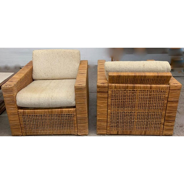 Boho Chic Pair, Mid Century Cube Chairs For Sale - Image 3 of 9