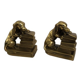 Brass Dachshunds & Books Bookends - a Pair