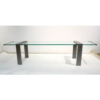 1970s Italian Design Urban Geometric Iron Satin & Crystal Clear Long Sofa Table Preview