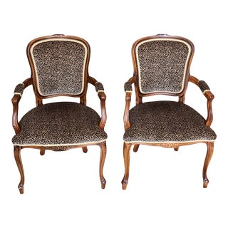 1980s Vintage Louis XV Style Wood and Animal Print Fauteuils Open Arm Chairs – a Pair For Sale