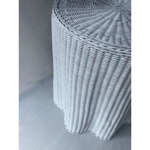 The School of Paris 1960s Faux Drape Wicker Table For Sale - Image 3 of 6