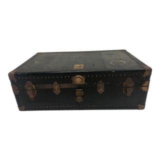 Vintage Industrial Black Steamer Trunk by Belber For Sale