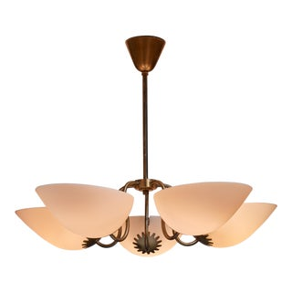 Swedish brass chandelier with five opaline glass shades, 1940s For Sale