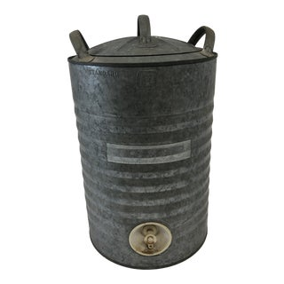 Vintage Country Galvanized Metal Water Cooler For Sale