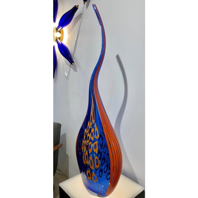 2010s Dona Modern Art Glass Blue and Orange Sculpture Vase With Red and Yellow Murrine For Sale - Image 5 of 12