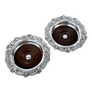 Large English Rococo Sterling Mounts on Silver on Silver Plated Copper Body Wine Coasters - a Pair