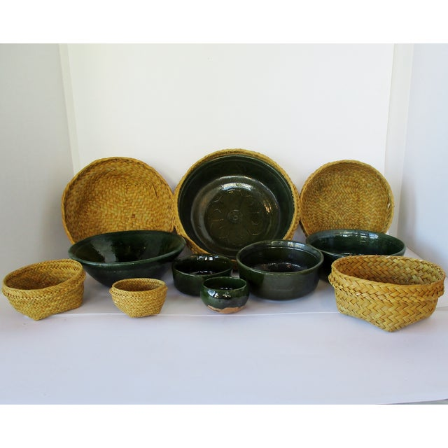 Ceramic & Wicker Nesting Bowls, Set of 6 For Sale In Los Angeles - Image 6 of 9