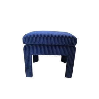 Navy Blue Ribbed Velvet Ottoman Preview