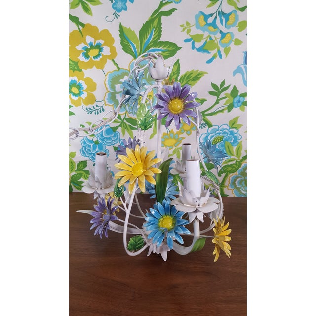 Vintage hand painted tole daisy chandelier with 10ft chain, original working wiring - plug and light switch.