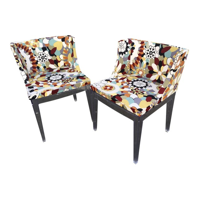 Floral Chairs With Acrylic Base - a Pair For Sale
