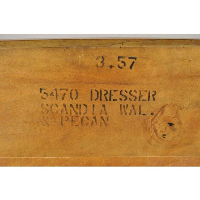 Vintage Mid Century Modernist Walnut Rectangular Wall Dresser Deep Frame Mirror For Sale - Image 9 of 11