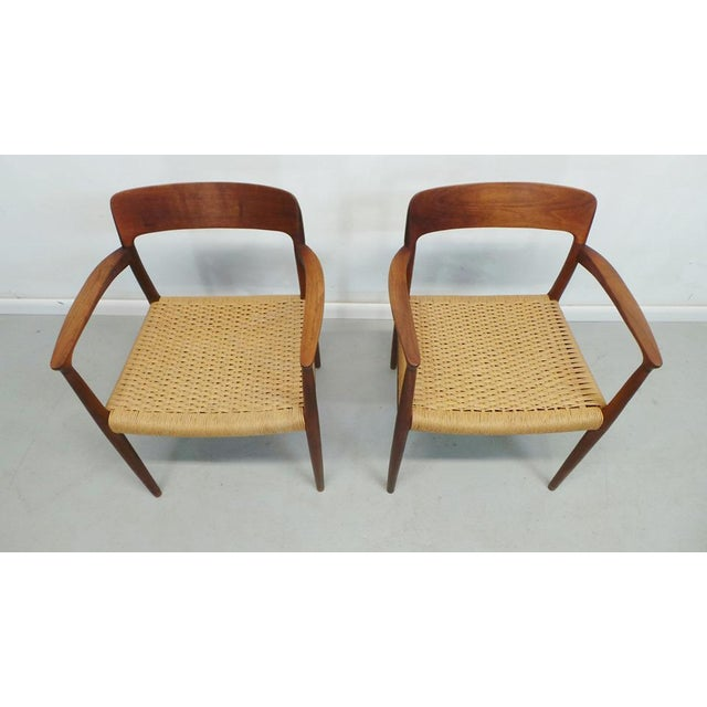 Danish Modern Mid Century j.l. Moller Danish Modern Teak Framed Rope Seat #56 Arm Dining Chairs by j.l. Moller For Sale - Image 3 of 11