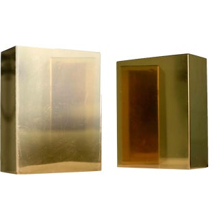 1970's Mid-Century Modern Gold Bar Metal Bookends -A Pair For Sale