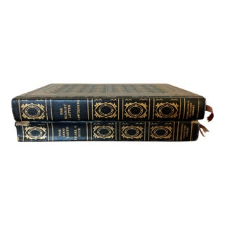 Vintage Classic Books With Ornate Black Covers - Set of 2 For Sale