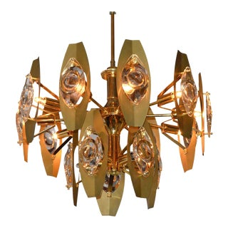 Mid Century Modern Italian Oscar Torlasco Brass and Cut Glass Chandelier
