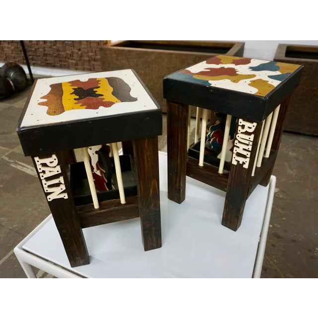 Wood Stools by Thorsten Passfeld- Set of 6 For Sale - Image 7 of 9