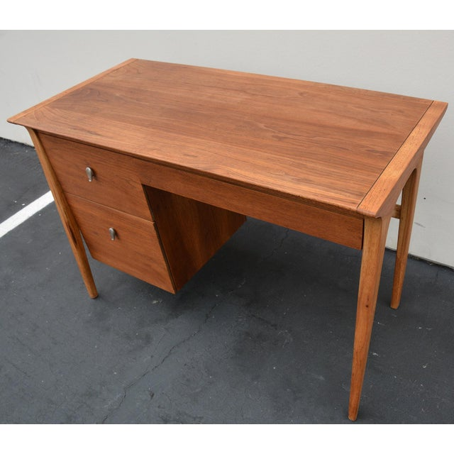 Walnut Mid-Century John Van Koert for Drexel Profile Walnut Floating Desk For Sale - Image 7 of 10