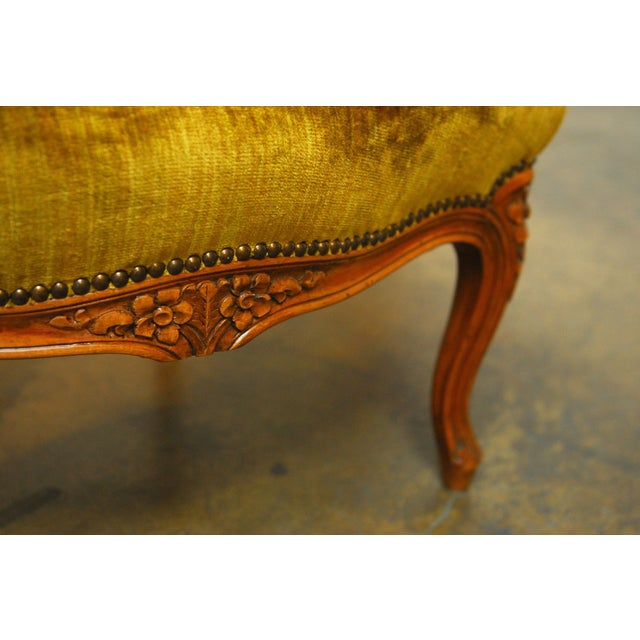 Louis XV Handcarved Topaz Velvet Bergeres - A Pair - Image 8 of 8