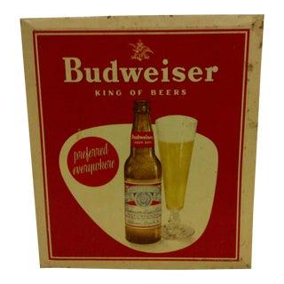 Vintage Tin Budweiser Beer Sign Circa 1940 For Sale