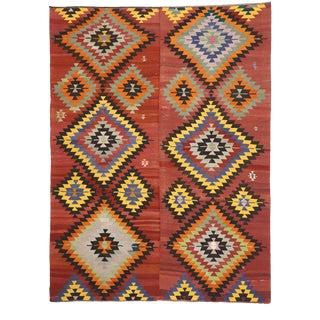 Vintage Turkish Kilim Area Rug - 09'03 X 12'04 For Sale