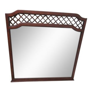 Vintage Collingwood Campaign Lattice Dresser Wall Mirror For Sale