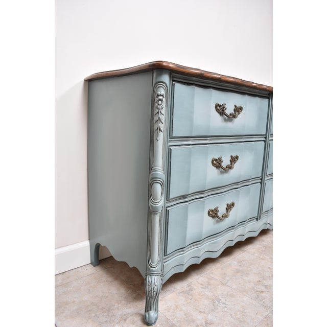 Wood French Provincial Nine Drawer Triple Dresser For Sale - Image 7 of 13