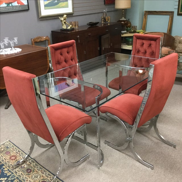 Vintage Mid-Century Chrome & Glass Dining Set - Image 4 of 5