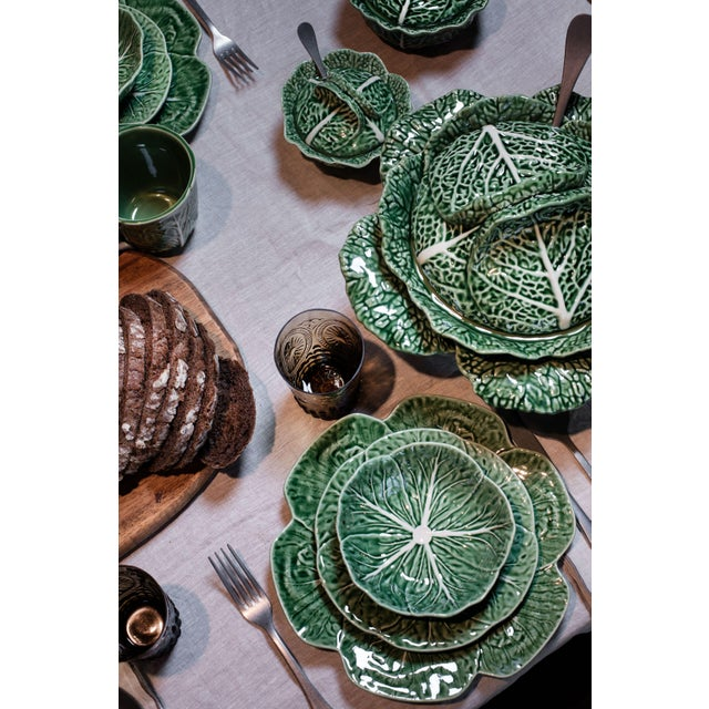 Traditional Bordallo Pinheiro Cabbage Cereal Bowl 17 oz in Green, Set of 4 For Sale - Image 3 of 6