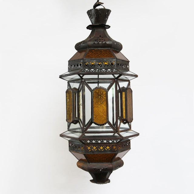 Vintage handmade Moroccan glass and metal lantern. A beautiful boho chic piece that you will love having in your home!