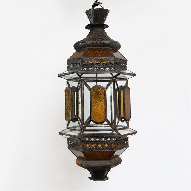 Moroccan Metal & Glass Lantern - Image 2 of 3