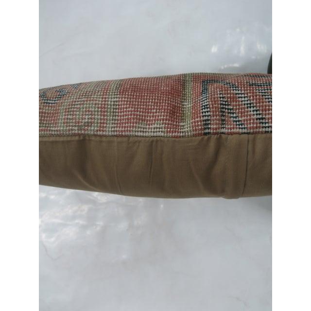 Asian Pink & Blue Khotan Rug Pillow For Sale - Image 3 of 3