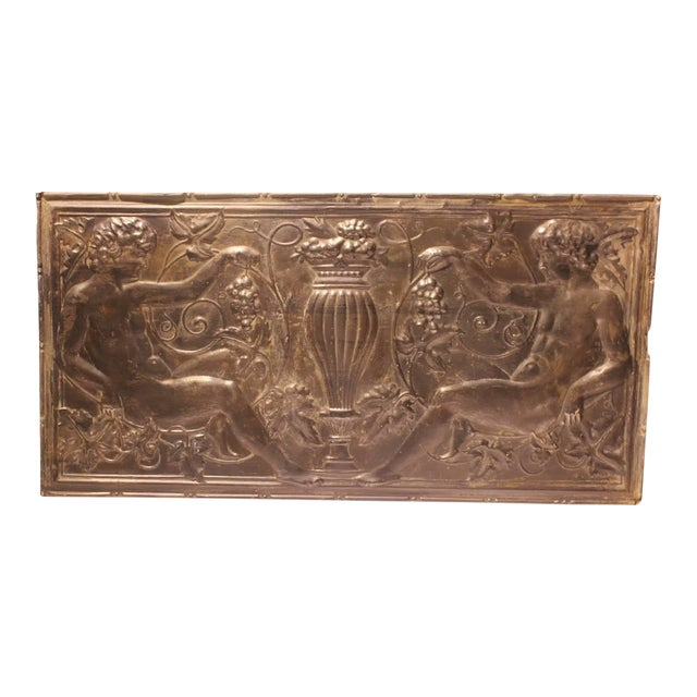 Mid 19th C. Antique Decorative Figural Tin Wall Panel For Sale
