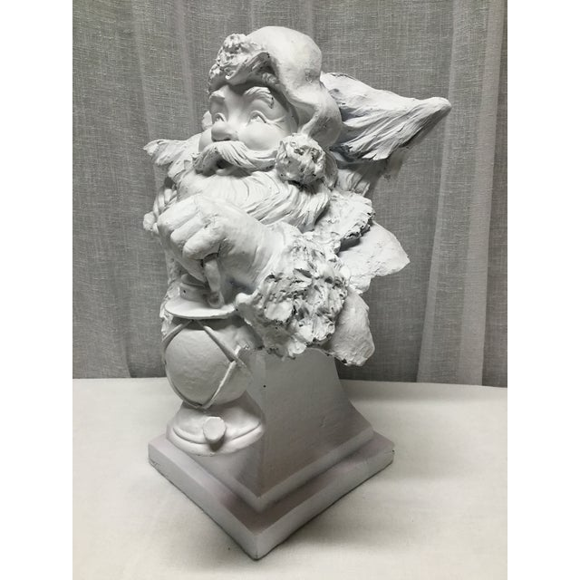 Vintage Santa Carrying Lantern and Christmas Tree Statue or Bust For Sale - Image 4 of 5