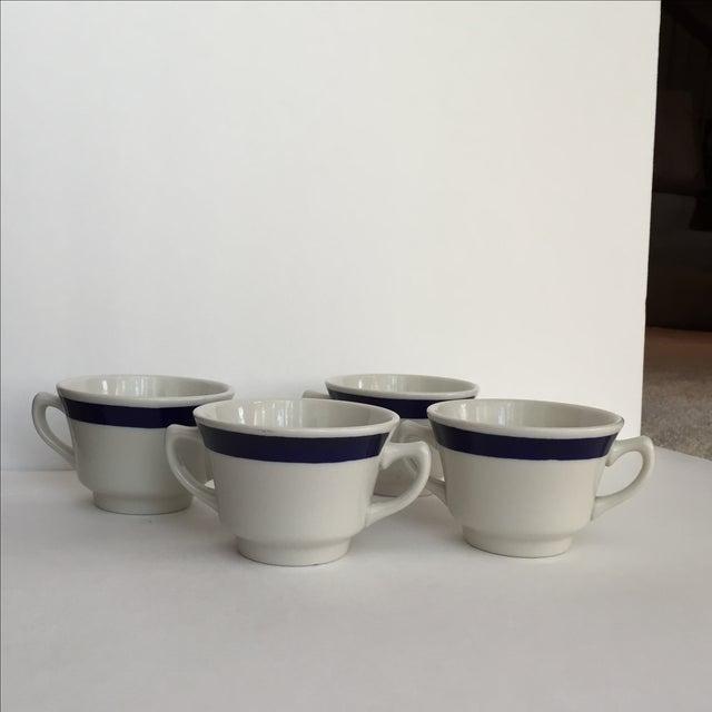 White & Blue Bouillon Soup Bowls - Set of 4 For Sale - Image 9 of 11