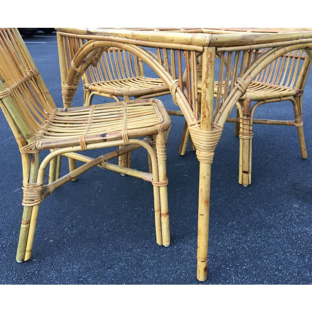 Bamboo Rattan Glass Top Dining Table & Chairs - Set of 5 | Chairish