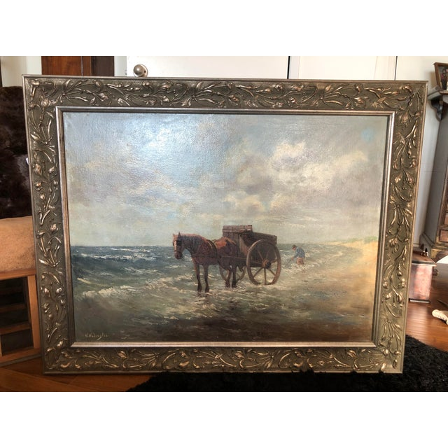 Up for sale is a gorgeous equine themed Impressionist oil painting. This piece was painted by Dutch artist, Henrietta...