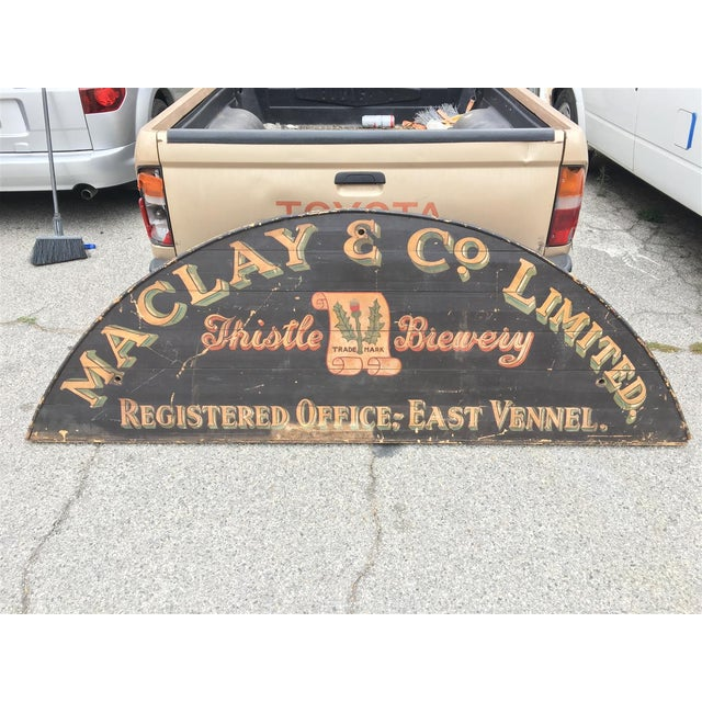 Monumental Hand Painted Antique Thistle Brewery Sign For Sale - Image 10 of 10
